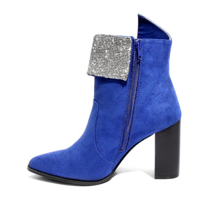side view blue bootie with rhinestone embellished