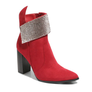three quarter view red bootie with rhinestone embellished