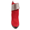 front view red bootie with rhinestone embellished