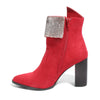side view red bootie with rhinestone embellished