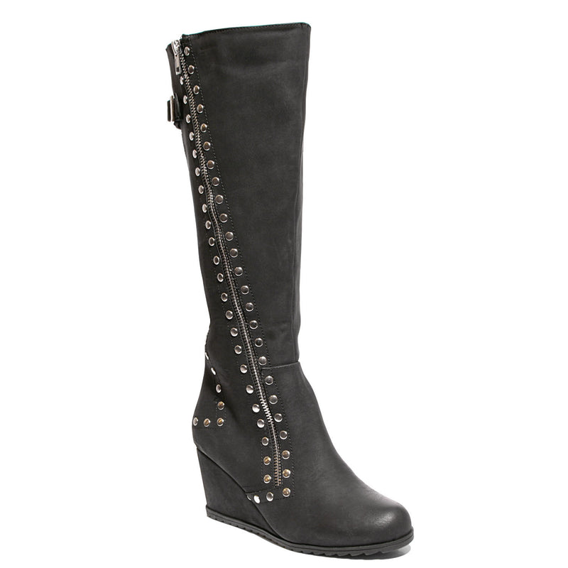 three quarter view black calf boot with studs