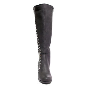 front view black calf boot with studs