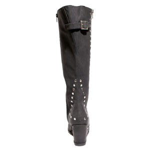 back view black calf boot with studs