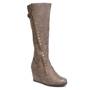 three quarter view brown calf boot with studs