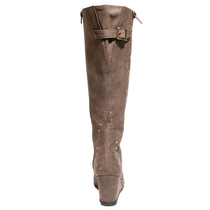 back view brown calf boot with studs