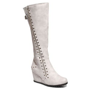 three quarter view stone calf boot with studs