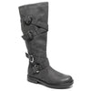 Three quarter view four buckle adjustable calf black color riding boot