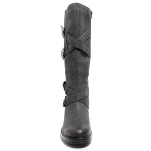 Front view four buckle adjustable calf black color riding boot