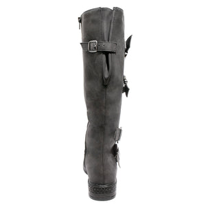 Back view four buckle adjustable calf black color riding boot