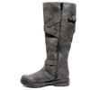 Inside side view four buckle adjustable calf black color riding boot