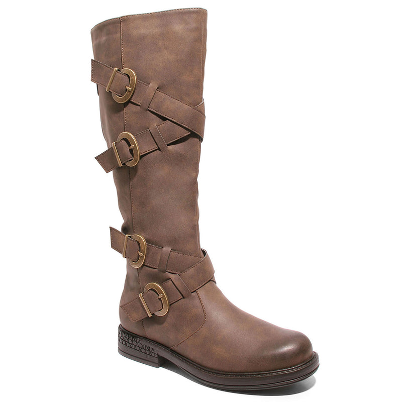 Three quarter view four buckle adjustable calf brown color riding boot