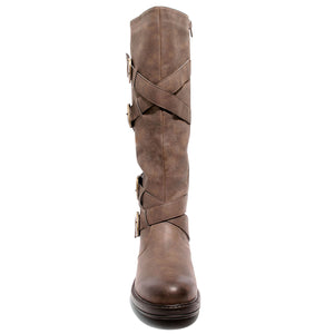 Front view four buckle adjustable calf brown color riding boot