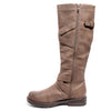 Inside side view four buckle adjustable calf brown color riding boot