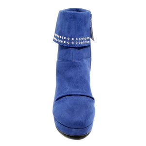 front view blue heeled bootie