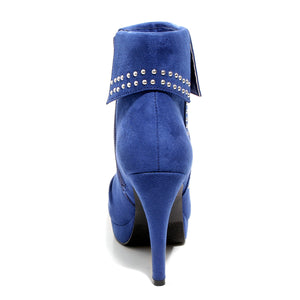 back view blue heeled bootie