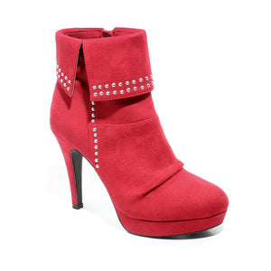 three quarter view red heeled bootie