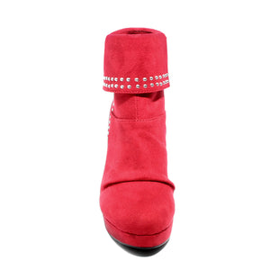 front view red heeled bootie