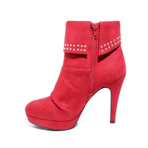 side view red heeled bootie