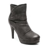 three quarter view black platform bootie