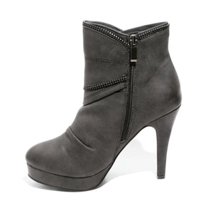 side view black platform bootie