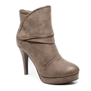 three quarter view brown platform bootie