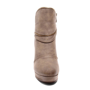 front view brown platform bootie