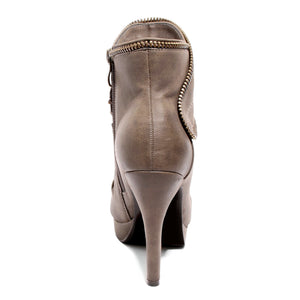 back view brown platform bootie