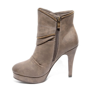 side view brown platform bootie