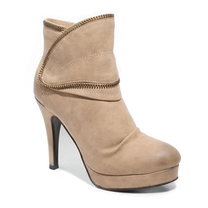 three quarter view taupe platform bootie