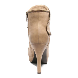 back view taupe platform bootie