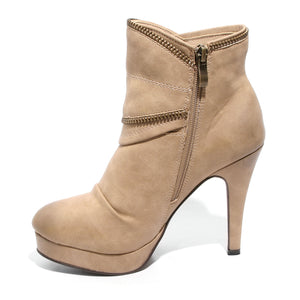 side view taupe platform bootie