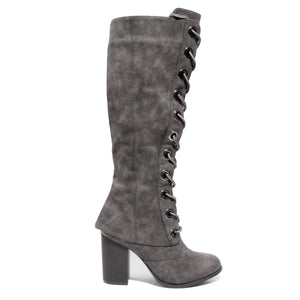side view black lace up knee high boot