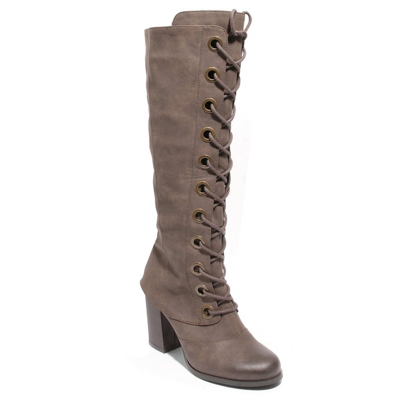 three quarter view brown lace up knee high boot