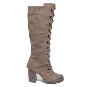 side view brown lace up knee high boot