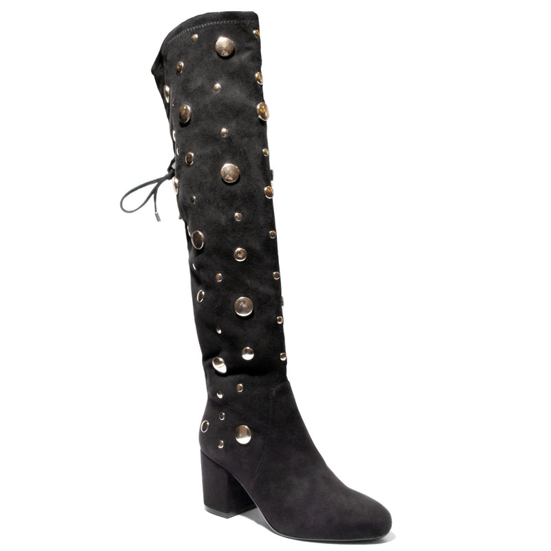 three quarter view black lace up knee high boot