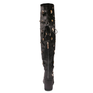 back view black lace up knee high boot