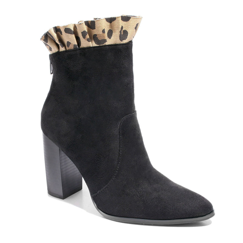three quarter view black leopard bootie
