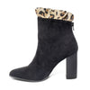 side view black leopard bootie