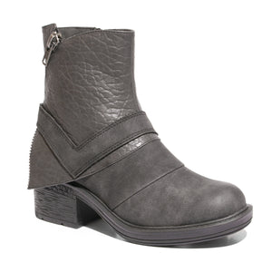 Three quarter view mixed media grunge black bootie with side zipper