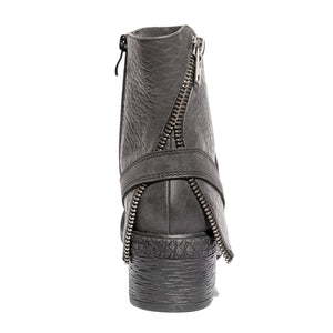 Back view mixed media grunge black bootie with side zipper