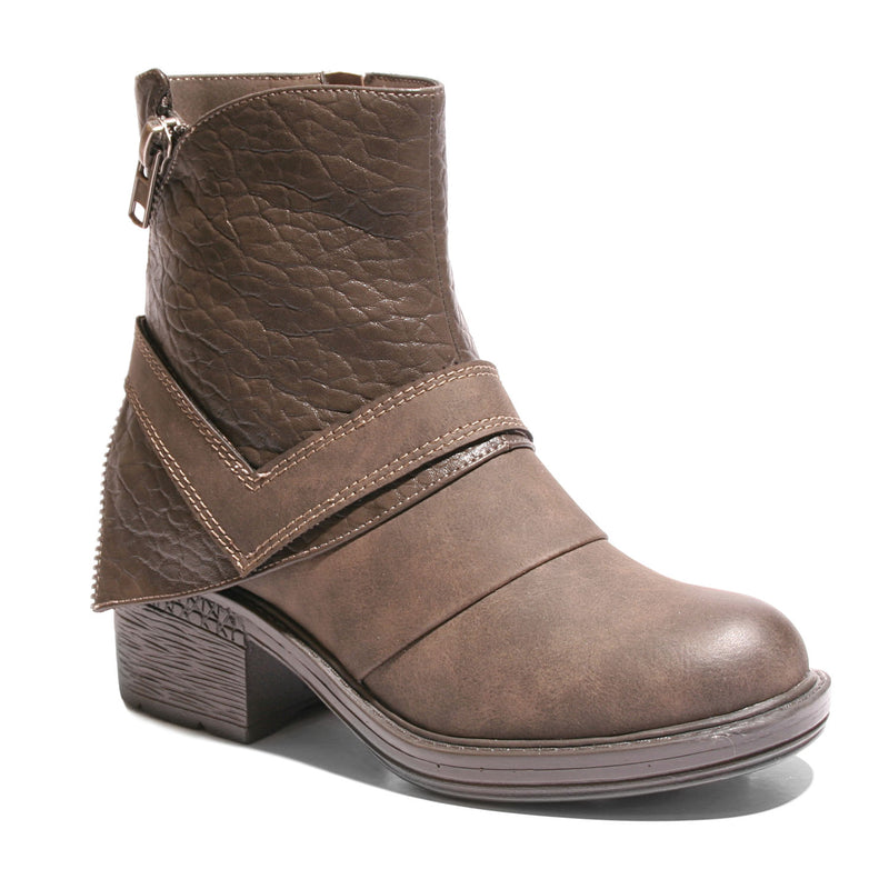 Three quarter view mixed media grunge brown bootie with side zipper