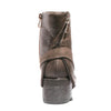 Back view mixed media grunge brown bootie with side zipper