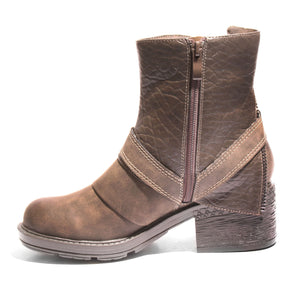 Inside side view mixed media grunge brown bootie with side zipper