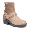 Three quarter view mixed media grunge taupe bootie with side zipper