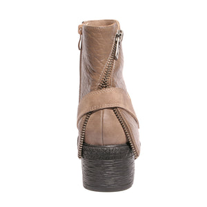 Back view mixed media grunge taupe bootie with side zipper