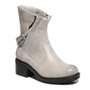White Three quarter view mid-heel bootie with zipper closure and sole material rubber