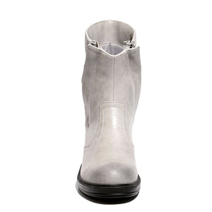 White front view mid-heel bootie with zipper closure and sole material rubber