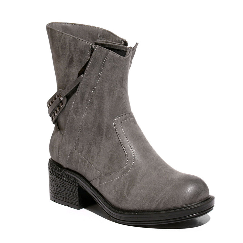 three quarter view black mid-heel bootie with zipper closure and sole material rubber