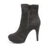 Inside side view black platform bootie with side zipper
