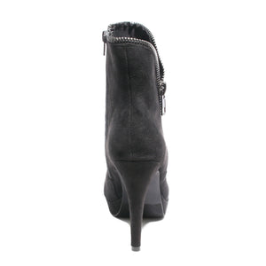 Back view black platform bootie with side zipper
